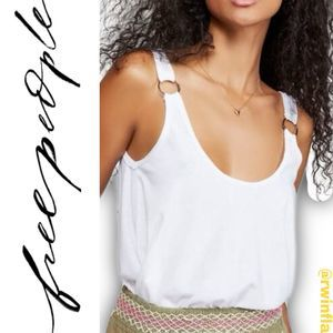 Carly Metal Ring Tank Top Ivory Size X-Small NWT